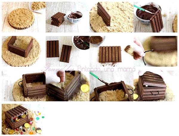 Cofre del Tesoro de Chocolate Kit Kat para Fiesta Pirata o Halloween