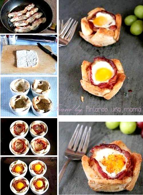 Tartaletas_Pan_de_Molde_Bacon_y_Huevo_PintandoUnaMama