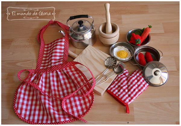 Set de cocina para ni os pintando una mam pintando - Delantales y gorros de cocina para ninos ...