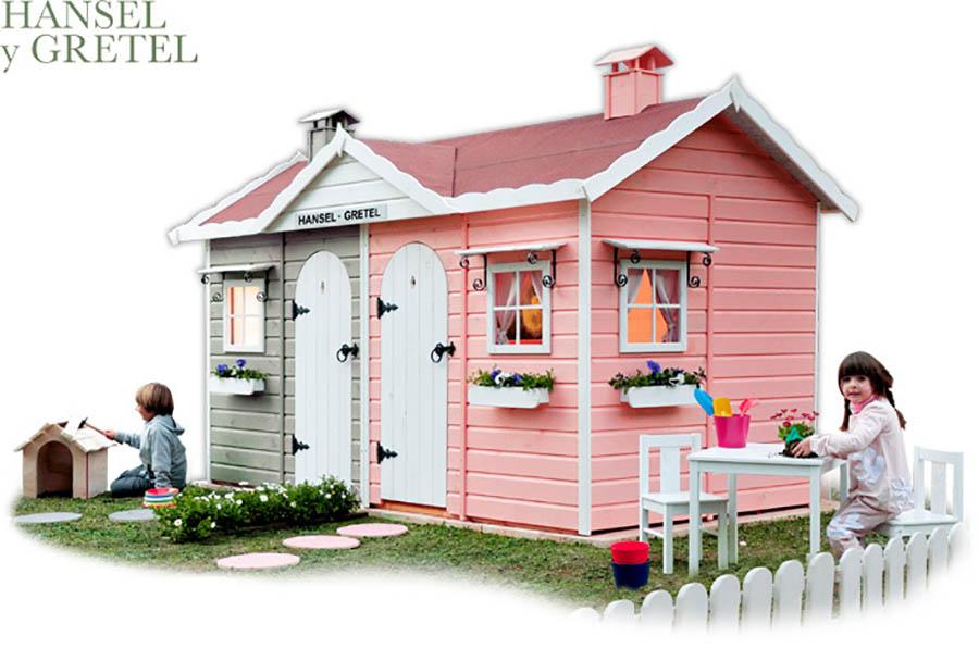 Casitas de madera para ni os green house pintando una for Casa de juguetes para jardin