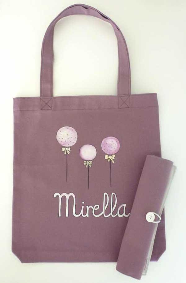 Bolsas de tela y mochilas pintadas a mano pintando una - Bolsas de tela para ninos ...